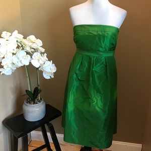 J. Crew Green Strapless Dress Silk Size 10